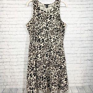 H&M Fit & Flare Leopard Print Sleeveless Dress